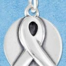 STERLING SILVER JEWELRY AWARENESS RIBBON CHARM ON DISK {P11605}