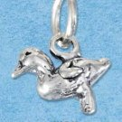 STERLING SILVER JEWELRY THREE DIMENSIONAL DUCKLING CHARM {P11622}