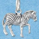 STERLING SILVER JEWELRY THREE DIMENSIONAL ZEBRA CHARM {P11614}