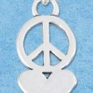 STERLING SILVER JEWELRY HIGH POLISH PEACE SIGN CHARM WITH HEART {P11603}