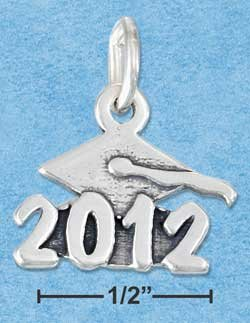 "STERLING SILVER JEWELRY MORTARBOARD WITH ""2012"" CHARM {P11602}"
