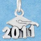 "STERLING SILVER JEWELRY MORTARBOARD WITH ""2011"" CHARM {P11601}"