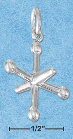 STERLING SILVER JEWELRY THREE DIMENSIONAL TOY JACKS CHARM {P11599}