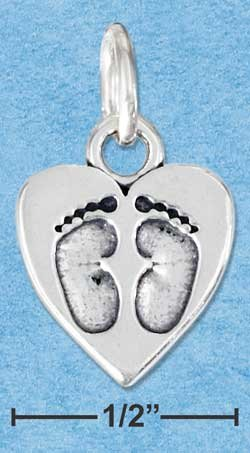 STERLING SILVER JEWELRY  HEART WITH FOOTPRINTS CHARM {P11598}