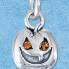 STERLING SILVER JEWELRY PUMPKIN CHARM WITH SWAROVSKI CRYSTALS {P11597}