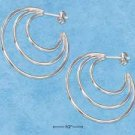 STERLING SILVER JEWELRY TRIPLE 3/4 CONCENTRIC TUBES POST HOOP EARRINGS {P11586}