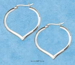 STERLING SILVER JEWELRY34MM HIGH POLISHED HEART HOOP EARRINGS WITH FRENCH LOCKS {P11584}