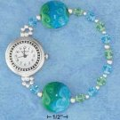 "STERLING SILVER JEWELRY 7"" AUSTRIAN CRYSTAL & GLASS LAMPWORK BEAD JELLY WIRE STRETCH WATCH {WA75}"