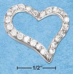 STERLING SILVER JEWELRY 18X21MM OPEN HEART CZ SLIDE PENDANT {P11026}