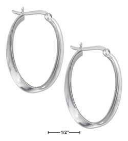STERLING SILVER JEWELRY  HIGH POLISH CURVED OVAL HOOP EARRINGS {P13396}
