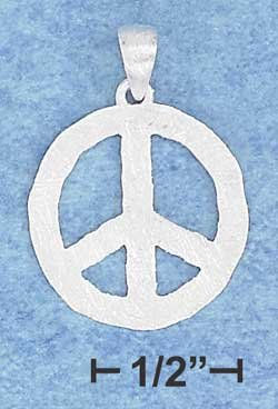 STERLING SILVER JEWELRY18MM FLAT PEACE SIGN PENDANT WITH MATTE FINISH {P10924}