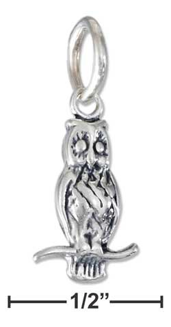 STERLING SILVER   THREE DIMENSIONAL OWL CHARM {p11620}