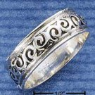 STERLING SILVER 7MM BAND RING WITH SPIRALS {sr1044}