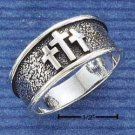 STERLING SILVER MENS ANTIQUED BAND RING WITH THREE CROSSES { sr1073 }