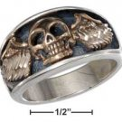 STERLING SILVER MENS BRONZE SKULL WITH WINGS RING {sr1808}