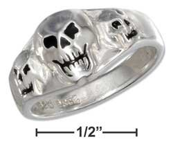 STERLING SILVER TRIPLE SKULL RING WITH BLACK ONYX EYES AND NOSES {sr2287}