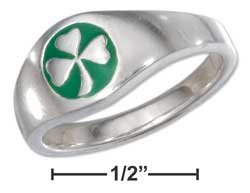 STERLING SILVER SHAMROCK RING WITH GREEN ENAMEL ON TAPERED BAND {sr2270}