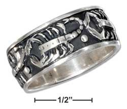 STERLING SILVER MENS ANTIQUED SCORPION BAND RING {sr2280}