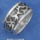 STERLING SILVER 11MM ANTIQUED TRIBAL BAND RING {sr2320}