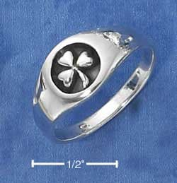 STERLING SILVER SHAMROCK RING WITH ANTIQUED INSET ON TAPERED BAND {sr2327}