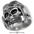 STERLING SILVER MENS SKULL RIDER RING {sr3030}