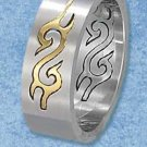 STAINLESS STEEL MENS 8MM BRUSH FINISH AND GOLD TONE TRIBAL BAND {sr3066}