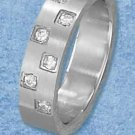 STAINLESS STEEL MENS BRUSH FINISH MULTIPLE INSET CUBIC ZIRCONIA BAND {sr3102}