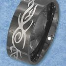 BLACK STAINLESS STEEL MENS 8MM TRIBAL BAND {sr3114}