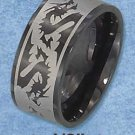 BLACK STAINLESS STEEL MENS 10MM LASER ETCHED DRAGON BAND {sr3115}