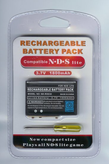 3.7V 1800mAh Rechargeable battery pack for NDS NDSL