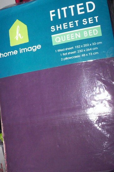 PURPLE QUEEN FITTED SHEET SET - NEW - 180TC THREAD COUNT