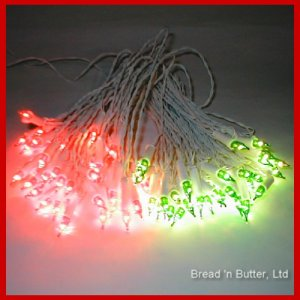 4 Sets  Italian Christmas vintage lights Red/Green w/ WHITE CORDS