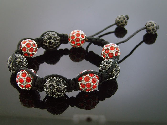 Big Bead Shamballa Red & Black CZ Bracelet 12MM