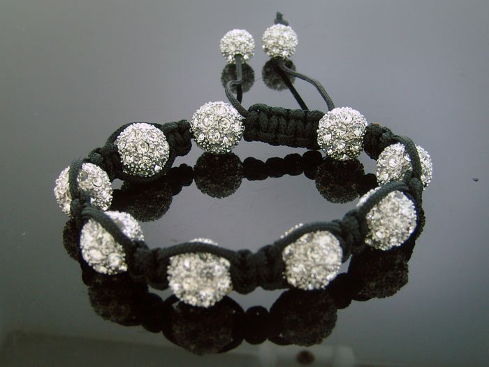 Big Bead Shamballa White CZ Bracelet 12MM