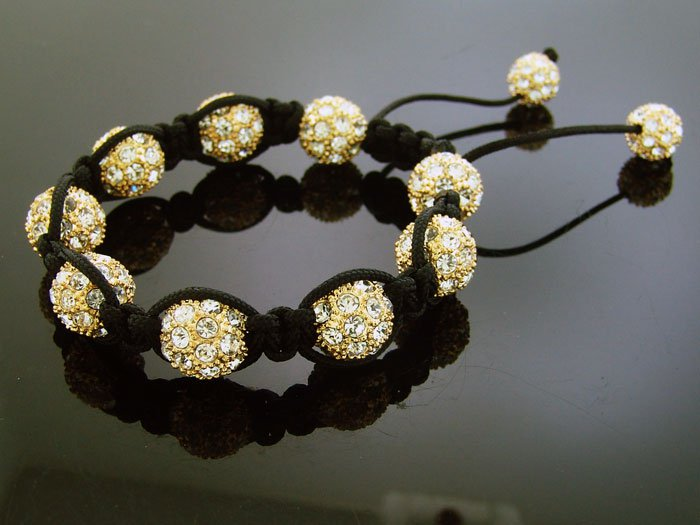 Big Bead Shamballa White CZ Bracelet 12MM Yellow Gold