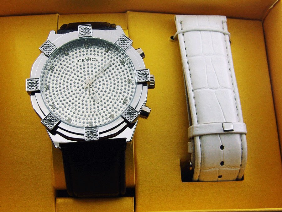 "Men's Ice Ice by Icetime Round 8 Genuine Diamond Watch ""WOW"""