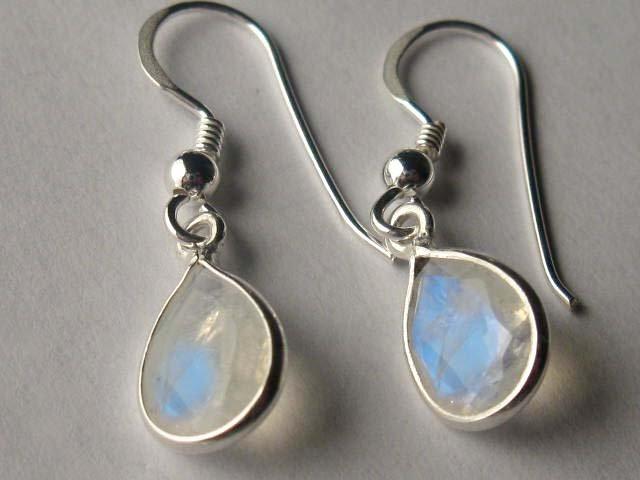 Sterling Silver Genuine Natural Moonstone Teardrop Earrings