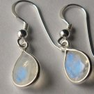 Sterling Silver Genuine Natural Moonstone Teardrop Earrings