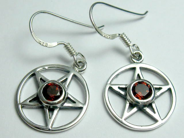 Sterling Silver Goth Natural Garnet Pentagram Earrings