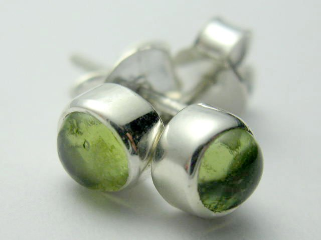 Sterling Silver Genuine Natural Peridot Studs