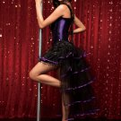 Purple Boned Lace Up Corset with Skirt