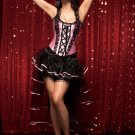 Pink Boned Lace Up Corset with Skirt