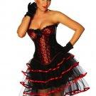 Black Burlesque Corset Dress, G-string with Skirt