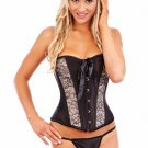 Boned Lace Up Corset with G-string
