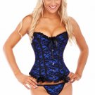 Blue Bridal Boned Lace Up Corset with G-string