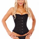 Black Steel Boned Lace Up Corset with G-string