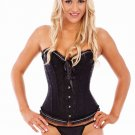Black Bridal Boned Lace Up Corset with G-string
