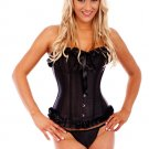Black Boned Lace Up Corset with G-string