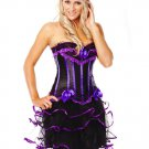 Black & Purple Boned Lace Up Corset with G-string