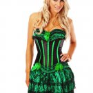 Black & Green Boned Lace Up Corset with G-string